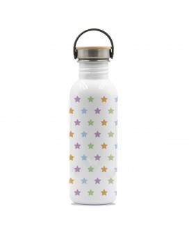 DRINK LIFE! STARS BASIC STEEL BOTTLE 0.75L BAMBOO AND STAINLESS STEEL CAP