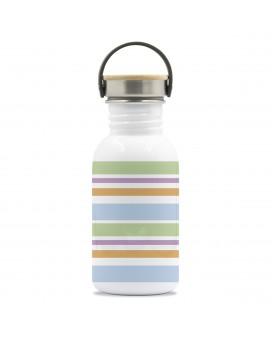 BOTELLA DE ACERO INOXIDABLE 0,5 L BASIC STEEL DRINK LIFE! BANDS FRONTAL