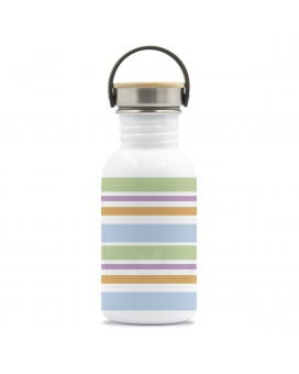DRINK LIFE! BANDS BASIC STEEL BOTTLE 0.50L BAMBOO AND STAINLESS STEEL CAP