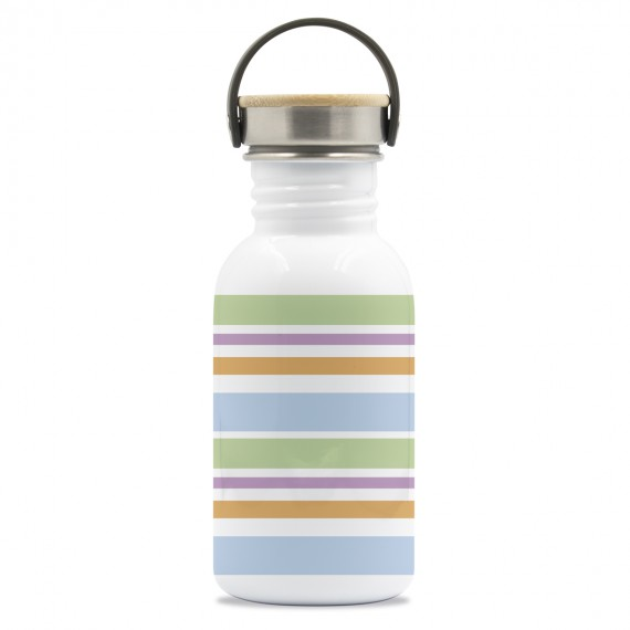 DRINK LIFE! BANDS BASIC STEEL BOTTLE BAMBOO AND STAINLESS STEEL CAP