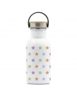 BOTELLA DE ACERO INOXIDABLE BASIC STEEL DRINK LIFE! STARS 0,50 L TAPÓN BAMBÚ Y ACERO INOXIDABLE