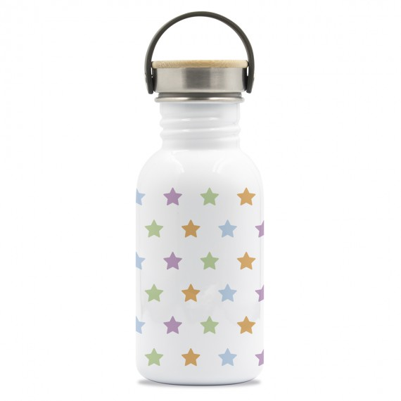 DRINK LIFE! STARS BASIC STEEL BOTTLE BAMBOO AND STAINLESS STEEL CAP
