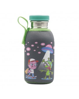 STAINLESS STEEL JUNIOR BOTTLE 0.50L NEOPRENE COVER OVNI & STAINLESS STEEL AND POLYPROPYLENE CAP