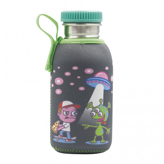 STAINLESS STEEL BOTTLE 0.5L WITH NEOPRENE COVER OVNI AND POLYPROPYLENE CAP