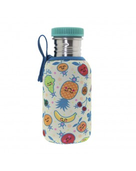 STAINLESS STEEL JUNIOR BOTTLE 0.50L NEOPRENE COVER FRUITUTITOS & STAINLESS STEEL AND POLYPROPYLENE CAP