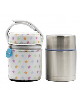 STAINLESS STEEL THERMO FLASK FOOD DRINK LIFE! STARS 0.5L