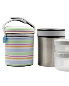 STAINLESS STEEL THERMO FLASK FOOD DRINK LIFE! BANDS 1L