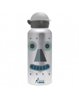 BOTELLA INFANTIL DE ALUMINIO ROBOT 0,45 L TAPÓN HIT